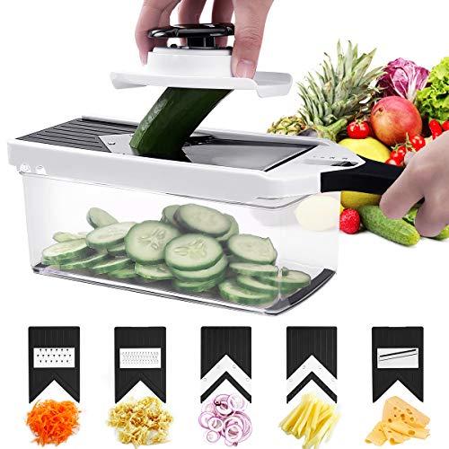 Godmorn Mandoline Multifonctions Réglable Lame en V, râpe légumes Couper Les Légumes Trancheuse Lames Amovibles en Acier INOX avec Poussoir Durable Facile à Nettoyer Au Lave-Vaisselle sans BPA