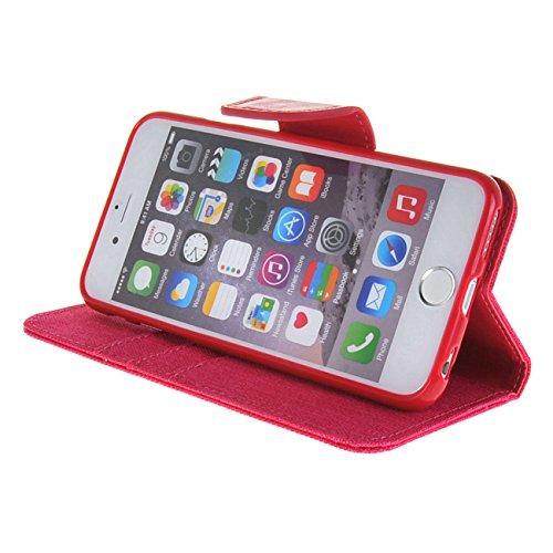 MOONCASE Coque en Cuir Portefeuille Housse de Protection Étui à rabat Case pour Apple iPhone 6 Plus ( 5.5 inch ) Dark Bleu HotRose