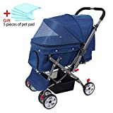 Wooce Pet Four-wheeled Reversible Trolley Cats Dogs Carts Shockproof Durable Stroller Adjustable Direction,One-click