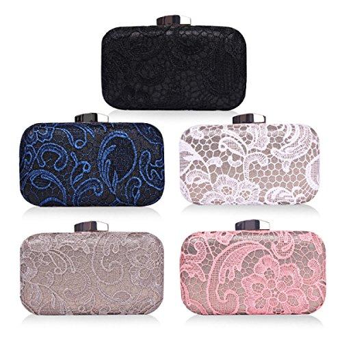 GSHGA Womens Clutch Taschen Lace Hand Tasche Hochwertige Modelle Hochzeit Abend Geldbörse,Grey Black