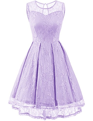 Gardenwed Damen Kleid Retro Ärmellos Kurz Brautjungfern Kleid Spitzenkleid Abendkleider Cocktailkleid Partykleid Lavender L (Brautjungfer Kleider)