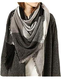 ffc9ab326727 GreatestPAK Vêtements foulards Écharpe à carreaux femmes hiver couleur  chaude couture longue laine châle ...