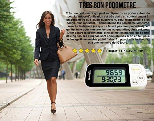 NAKOSITE Ruta Perfecta es un Podómetro en 3D con Correa y Fijador  Contador de Pasos Basado en Precisión  Calculadora de Distancia Corta (Kilómetros y Millas)  Monitorización de Calorías Quemadas  Modo Ejercicio  Rastreador de Rendimiento Diario  Memoria Diaria de 30 Días  Dispositivo Construido con Tecnología Tri  Axis (Basada en Sensores)  Acabado Blanco y Fácil Lectura Digital del Monitor   BONO: Libro Electrónico Gratis + 365 Días de Garantía.