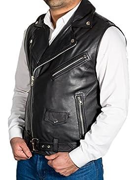 De cuero para hombre Negro Brando estilo chaleco de Gilet del motorista (sin mangas de la chaqueta)