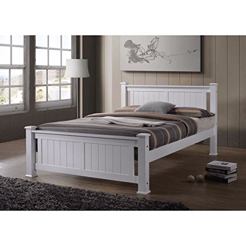 Luxury Heavesta White Wooden Bed Frame By MianGE (4'6 (Double) : 207cm X 149cm X 100cm)