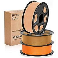 SUNLU 3D filament 1.75, PLA+ Filament 1.75mm, 3KG PLA+ Filament 0.02mm for 3D Printer 3D Pens, Orange + Coffee + Skin