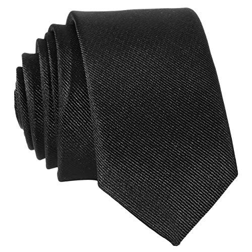 DonDon Schmale schwarze handgefertigte Krawatte 5 cm