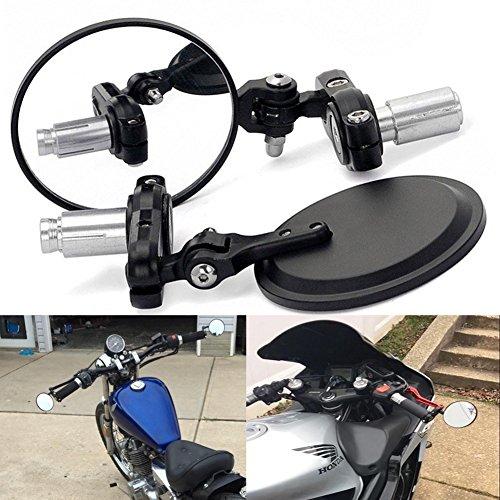 tuincyn Universal 7/20,3cm Motorrad Griff Ende Spiegel faltbar Rear View Side View Griff Bar rund Motorrad Spiegel (2Stück)