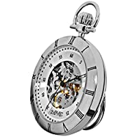 August Steiner Men's Automatic Skeleton Pocket Watch - Silver Case and Dial - AS8017