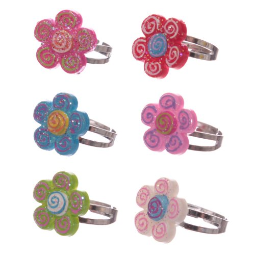 Cute Colourful Spiral Flower Adjustable Ring