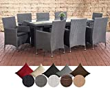 CLP Polyrattan-Sitzgruppe AVIGNON BIG | Garten-Set mit 8 Sitzplätzen | Komplett-Set bestehend aus: 1x Tisch und 8 Gartenstühlen inklusive Sitzauflagen | In verschiedenen Farben erhältlich Rattanfarbe: Grau, Bezugfarbe: Anthrazit