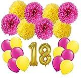 FLGood – Geburtstagsdeko – Seiden Papier Pompons-Gelb-Pink - Zahlenluftballon 18 und wunderschöne Luftballons- Dekoration für Geburtstag-Party-Feier