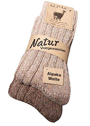 Alpaka Socken mit Wolle, vorgewaschen, weich und warm, ideal auch als Hausschuh, in vier Farben und im 2er Pack. Geliefert werden die Farben nach dem Zufallsprinzip.