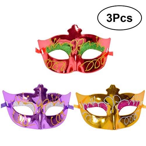 BESTOYARD Retro Maske Halloween Masquerade Parteien Frauen Cosplay 3(Rot Lila Gold)