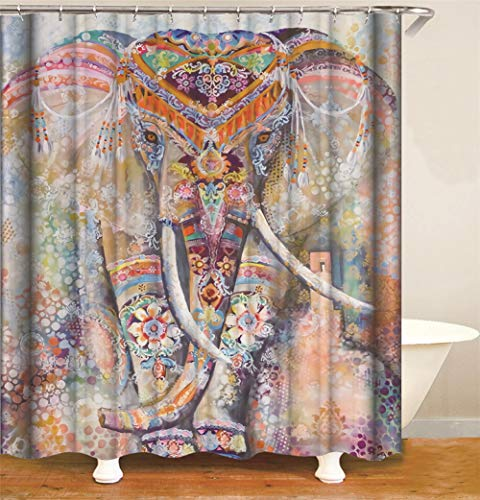 SLN Gemalt. EIN Elefant In Einem Wunderschönen Kostüm. Duschvorhang. Wasserdicht. Einfach Zu Säubern. 180X180Cm.