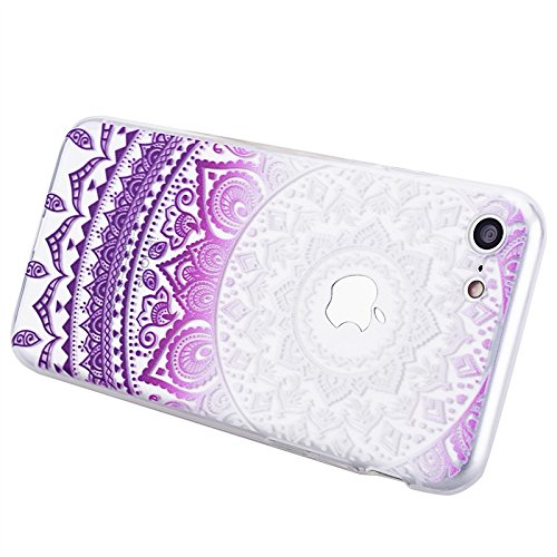 Coque Apple iPhone 7, Yokata Case Mandala Tribal Motif Design Housse Étui Clair Transparente Soft Doux TPU Silicone Flexible Backcover Ultra Mince Hybrid Crystal Coque + 1*Stylet - Bleu Pourpre