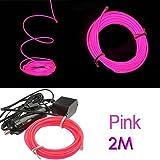SODIAL(R) 2M Flexible EL cable Partido de neon del coche del LED Luz de la cuerda del tubo + 12V Inversor - Rosa
