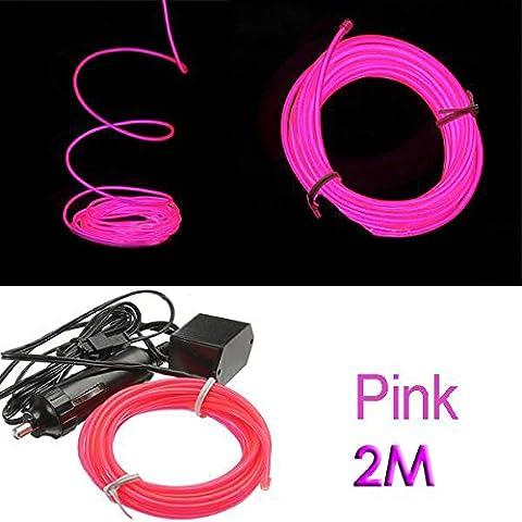 Neon Rose Lumiere - SODIAL (R) 2M EL flexible Fil Neon