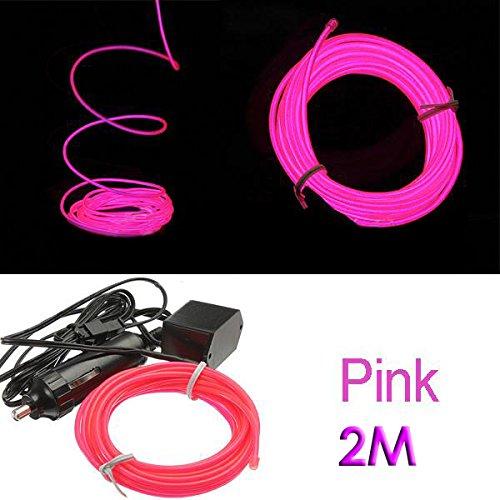 SODIAL (R) 2M Flexible EL Wire Neon-LED-Auto-Licht-Party Rope Tube + 12V Inverter - rosa
