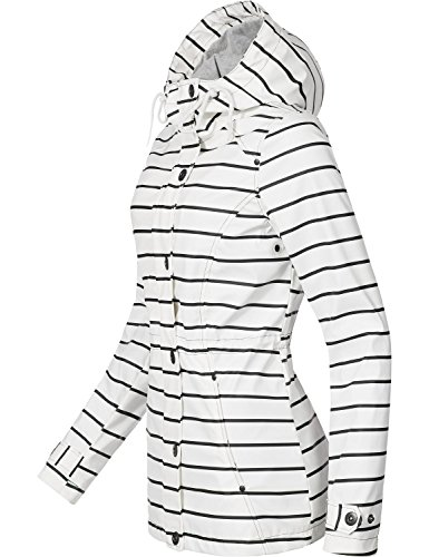 Peak Time Damen Allwetter Regenjacke L60027 White Stripes Gr. XL - Frauen Mantel Peak