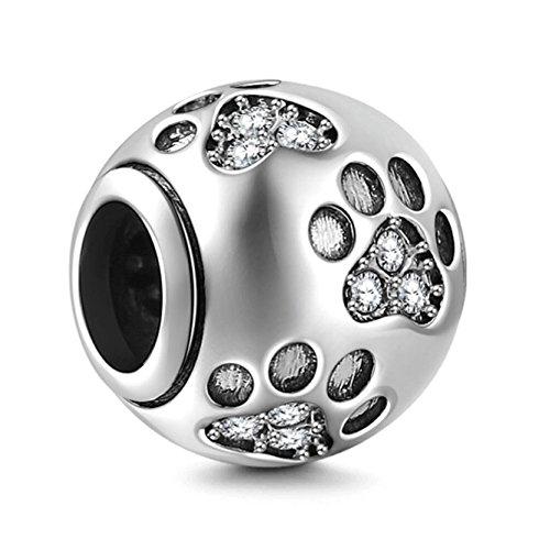 Charm-Perle, Motiv: Hundepfoten-Abdruck, Sterlingsilber925, für Schlangenketten und Charm-Armbänder im europäischen Stil clear crystal (Crystal Anhänger Clear Crystal)