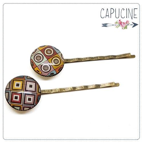 2 pinces bronze cabochons verre pois & losanges - pinces cheveux cabochon - Barrettes cheveux illustrées - Damier