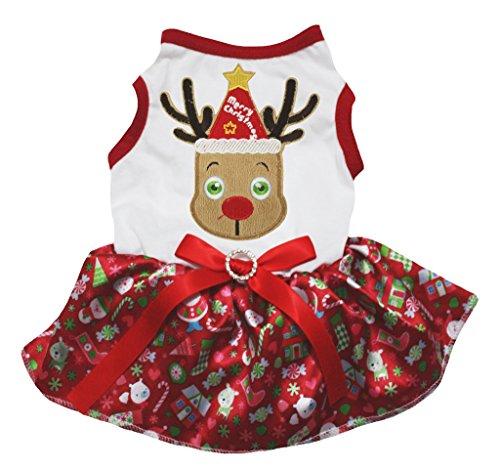 Hund Kleider (petitebelle Hund Kleid Weihnachts niedlichen Rentier weiß Baumwolle Schneemann rot)