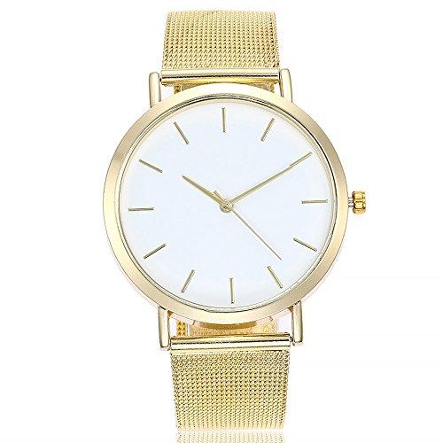 Altsommer Edelstahl Mesh Business Fashion Armbanduhr Armbanduhren Unisex Armbanduhr Damen Herren Uhr mit 4cm Gehäuse Durchmesser,Damen-Uhr mit Marmor Zifferblatt Armband,Silver (Gold)