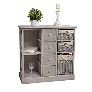sideboard im shabby chic mit k rben regalf cher und schubladen in grau k che haushalt. Black Bedroom Furniture Sets. Home Design Ideas