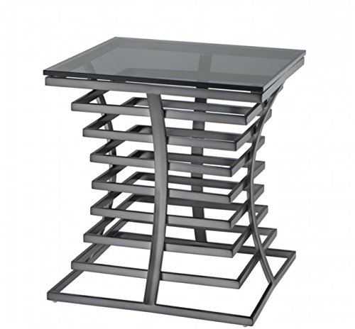 CASA PADRINO LUXURY ART DECO DESIGNER SIDE TABLE BRONZE WITH SMOKE GLASS - LUXURY DESIGNER TABLE