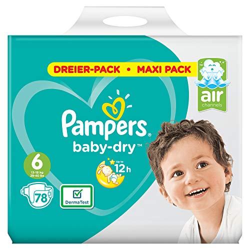 Pampers Baby-Dry Gr.6, 78Windeln, Für Atmungsaktive Trockenheit, 78 Stück