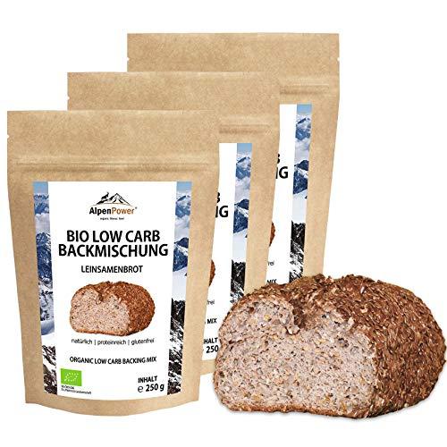ALPENPOWER | BIO LOW CARB BACKMISCHUNG LEINSAMENBROT 3-er Pack | Glutenfreies Eiweissbrot | Vegan & Ballaststoffreich | Für Ketogene und Low Carb Diäten geeignet | 3x 250 g