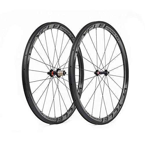VCYCLE Nopea 40mm Carbon Fiber Road Wheels 700C Bicycle Wheel 25mm Width Riveter Ultra Light Shimano or Sram 8 / 9 / 10 / 11 Speeds