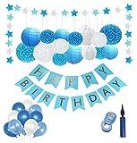 Geburtstag Dekoration,Deko Geburtstag,Geburtstag Deko,Geburtstagsdeko-Set für Junge/Mann,Premium-Qualität Blau und Weiß;Erster 1 Geburtstag Junge. Pom Poms,Happy Birthday Girlande,Ballons luftballons.