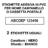 targa adesiva nome citofono e cassetta postale (2 pezzi) in plastica lucida bianco e carattere ner