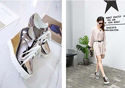 Onfly Pumps Keilabsätze Lässige Schuhe Dame Einfach Mode Leder Schnürsenkel Dicke Plattform Muffins Schuhe Eu Größe 35-40 gray