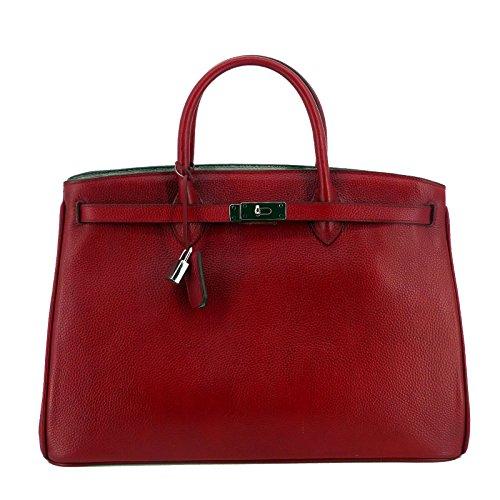 Rouven Studio Art / Icone 40 Tote Bag / Scarlet Rot Cherry Tomato Leuchtendes Cherry Weinrot / Silver / Leder Tasche Shopper Handtasche / groß / Business / edel modern chic puristisch (40x28x19cm) (New-handtaschen Bag Tote)