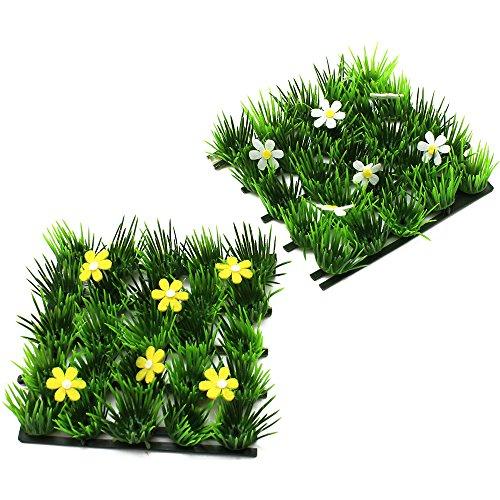COM-FOUR® 2x Deko Gras-Matte, Kunstrasen-Dekomatte mit Blumen z.B. für Frühlings- oder Osterdekoration, 13x13cm