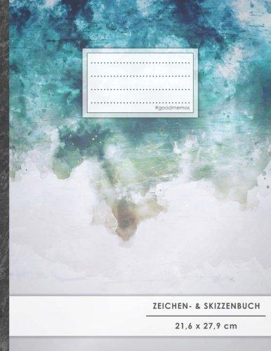 """Zeichen- & Skizzenbuch: DIN A4 • 100+ Seiten, Softcover, Register, """"Wasserfarben"""" • Original #GoodMemos Blanko Heft • Perfekt als Zeichenheft, Sketchbook, Handlettering"""