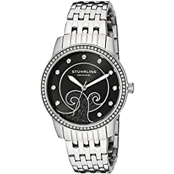 Stuhrling Original Coronet  Women's Quartz Watch with Black Dial Analogue Display and Silver Stainless Steel Bracelet 569.02
