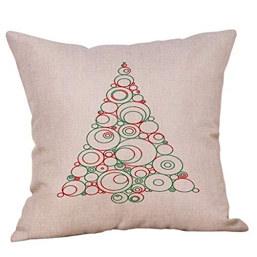 Vovotrade Weihnachten Kissenbezug, Weihnachtsbaum Auto Muster Kissenhülle Merry Christmas Alphabet Kissenbezüge Reißverschluss 45 x 45 cm -