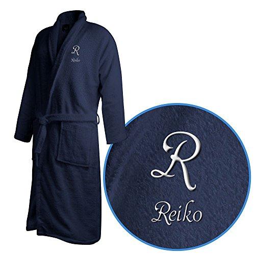 Bademantel mit Namen Reiko bestickt - Initialien und Name als Monogramm-Stick - Größe wählen Navy