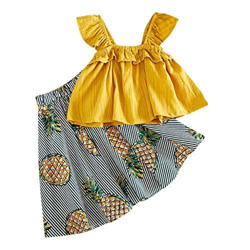 2 Stücke Kinder Mädchen Kleidung Kleinkind Bekleidungsset Sommer-Outfit Pwtchenty Tops T-Shirt Weste + Ananas Print Rock Set