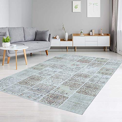 Teppich aus Baumwolle Flachflor Patchwork Vintage Beige Modern Wohnzimmer Größe 80/150 cm - 1046 Teppich