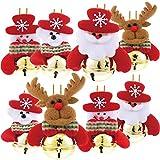 Christbaumschmuck Metall Glöckchen Weihnachtsglocken Schellen Rot Gold Weihnachtsdeko für Weihnachtsbaum Schmuck Frohe Weihnachten, Weihnachtsmann / Schneemann / Bär / Elch (8 stück)