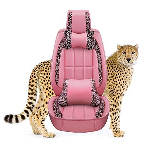 Jahreszeiten-Sitzbezug Verschleißfester Lederautositzbezug Leopard Series Fünf-Sitz-Universal-Sitzkissen Kompatibler Airbag (Color : Pink) ()