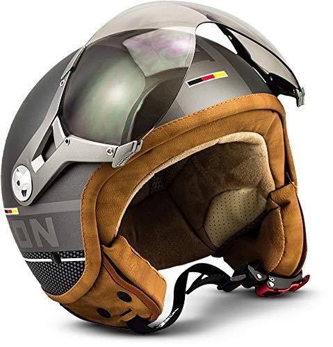 SOXON SP-325-PLUS Titanium · Helmet Chopper Vintage Jet-Helm Scooter-Helm Bobber Motorrad-Helm Biker Mofa Pilot Retro Cruiser Vespa-Helm Roller-Helm · ECE zertifiziert · inkl. Sonnenvisier · inkl. Stofftragetasche · Grau · L (59-60cm)