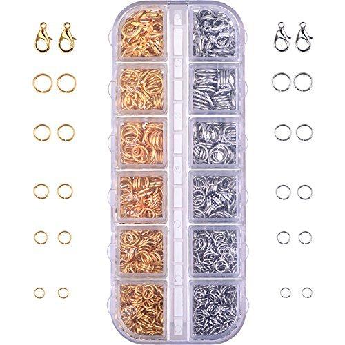 Kit fermagli aragoste chiusure di gioielli e anelli di salto per bigiotteria, 1104 pezzi