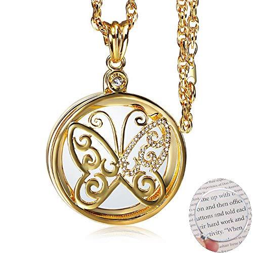 ANLW Frau Halskette Schmetterlingsform Glas Lupe Anhänger mit Kette Schmucklupe für Ältere lesen, Sehkraft erhöhen,Gold