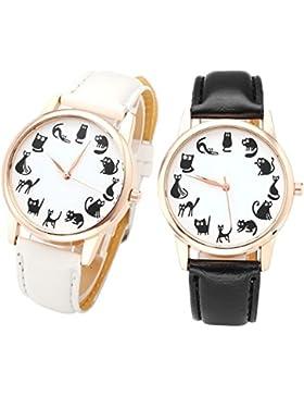 JSDDE Uhren,2x Fashion Cute Cartoon Kätzchen Katzen Armbanduhr PU Lederband Damenuhr Rosegold Analog Quarzuhr...